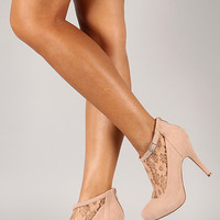 Bamboo Rhythm-96 Floral Lace Round Toe Bootie