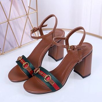 Gucci Women's Leather High-heeled Sandals