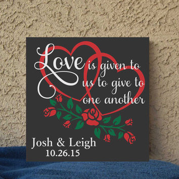 Love and Roses Save the Date Hand Painted 12 x 12 Canvas Wall Art Wedding Gift