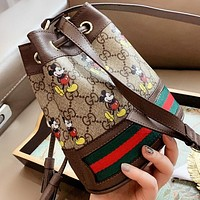GUCCI & Disney New fashion mouse more letter print shoulder bag crossbody bag bucket bag