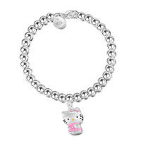 Hello Kitty Bracelet Silver Plated Pink Kt Cat CC Jewelry Adjustable Bracelet Lady Girl Prom Ornament Gift For Women Girls