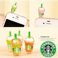1 x StarBucks Frappuccino Ice Coffee Cell Phone Charm 3.5mm Anti Dust Earphone Jack Plug iphone 4 4S (No 1):Amazon:Cell Phones & Accessories