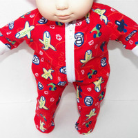 """American Girl Bitty Baby Clothes 15"""" Doll Clothes Boy Red Airplane Fall Autumn Winter Flannel Zip Pajamas Pjs Sleeper"""