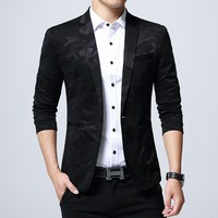 2018 Brand Men's Clothing Blazer One Button Men Blazer Slim Fit Suit Homme Men's Blazer Jacket Size Over Size 5XL