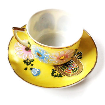 Demitasse Tea Cup And Saucer , China Set ,Occupied Japan , Vintage China Dishes , Collectible Yellow Tea Cup