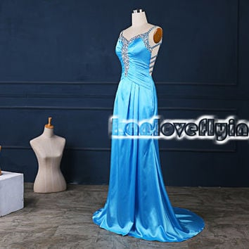 elegant blue satin long prom dresses with a train,backless homecoming dress,blue formal dress,evening dresses,mother of the bride dress
