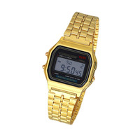 Vintage Womens Men Stainless Steel Square LED Digital Alarm StopWatch Wrist Watch relogio masculino XW0526