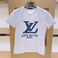 Alwayn LV cotton men and women embroidered denim blue letter logo round neck half sleeve T-shirt