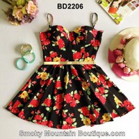 Black Floral Multi Color Bustier Dress with Adjustable Straps Size S/M - BD2206 - Smoky Mountain Boutique