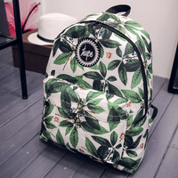 Vintage Leaves Printed Canvas Backpack Travel Bag