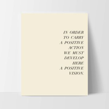 """Motivational Quote Poster """"In Order to Carry a Positive Action"""" Home Office Dorm Decor"""