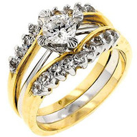 Two Tone Cubic Zirconia Anniversary Ring Set, size : 06