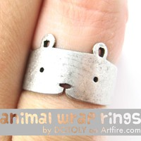 Teddy Bear Simple Animal Ring in Silver - Sizes 5 to 9 Available