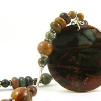 """Handmade Beaded Necklace with Red Creek Jasper Gemstones and a Large Circle Pendant in Rust Teal Green Brown Burgundy 21"""" Long"""