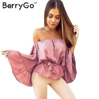 Rose satin blouse shirt Soft flare sleeve bow summer tops Elegant glossy pink women blouses