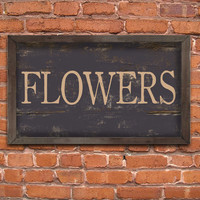 "Handmade wood flowers sign framed out in black distressed wood frame. Typography sign.  Approx. 12""x19""x2'."