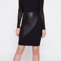 Leather Splice Dress