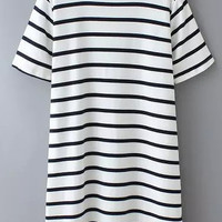 Striped Long Line White Shirt