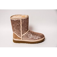 Champagne Gold Sequin Ugg Classic Short Boots