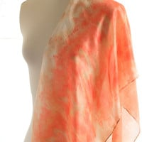 Hand dyed silk scarf eco print shawl, botanical print eucalyptus, earth coral orange shawl eco dyed, christmas eco gift for her, plant print