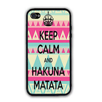 Keep Calm And Hakuna Matata AZTEC Rubber Silicone Case For iPhone 6 4 4S 5 5S 5C