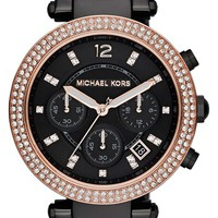 Women's Michael Kors 'Parker' Chronograph Bracelet Watch, 39mm - Black/ Rose Gold