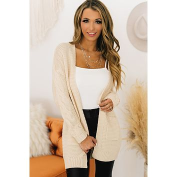 Live And Love Open Front Cardigan (Cream)