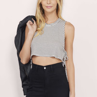 Tie It There Striped Crop Top