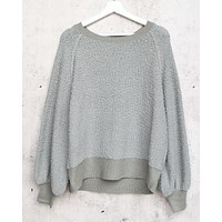 Final Sale - Dreamers - Pullover Sweater with Balloon Sleeves in Dust Mint