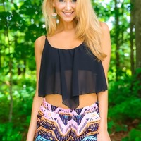 Thinking Simply Crop Top-Black