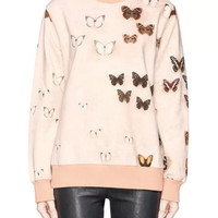 Pink Butterfly Print Sweater
