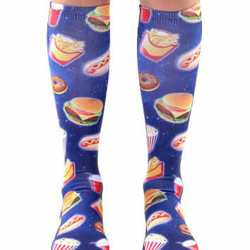 Fast Food Galaxy Knee High Socks