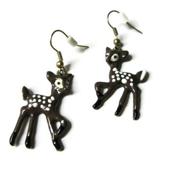 Deer Fawn Earrings, Animal Jewelry, Choice of Gold Or Black Nickel Free Ear Wires