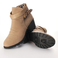 Women Buckle Suede Square Heel Ankle Boot