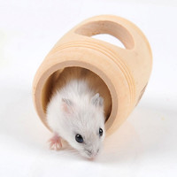 Hot Sale Winter Small Animal Wooden Bed House Cage Molar Wine Cake Shaped Pet Rat Hamster Mouse Wood Toy