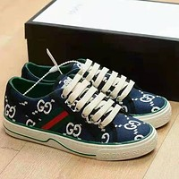 G GG Tennis 1977 Embroidered breathable casual sports shoes sneakers Dark Blue