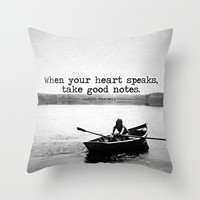 Quote Pillow | Vintage Rowboat Girl Decorative Pillow | Throw Pillow Cover | Lake House| Vintage Image | Black and White |
