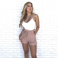 Keep In Touch Mauve Waist Tie Shorts