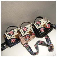 Fashion Retro Multicolor Embroidery Flower Bag Handbag Single Shoulder Bag Messenger Bag