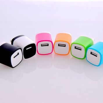 Magic-T Pack of 6 Colors USB AC/DC 1.0 AMP Power Adapter Home Wall Charger Plug for iPhone 3G 3GS 4 4s 5 5s 5c Ipod Touch Samsung Galaxy S1 S2 S3 S4