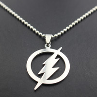 Free Shipping Superhero Silver Plated The Flash Lightning Symbol Beads Chain Necklace Fashion Men Movie Pendant Necklace Gifts