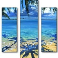 Stupell Home Triptych Panel Wall Art, Palm Tree Shadows, 19 by 17-Inch Triptych:Amazon:Home & Kitchen