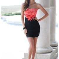 STRAPLESS RUFFLE FRONT DRESS