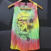 Colorful unique vintage flower skulll tank top size XS/S one size hot color pink blue Handmade Tie Dye Women teen shirt sleeveless shirt