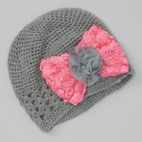 Gray & Hot Pink Crochet Bow Beanie | Something special every day