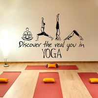 Yoga Wall Decal Quote Discover The Real You in Yoga Vinyl Stickers Fitness Decals Girls Bedroom Interior Design Living Room Decor Art KY134