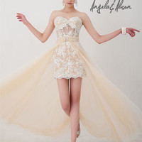 High-Low Dresses - Angela and Alison Long Prom 41039 Lace High Low