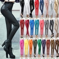 PANTS Warm Women Velvet PU Leather Pants Female Sexy Elastic Stretch Faux Leather