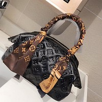 LV dark embossed women's handbag messenger bag