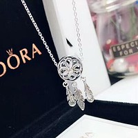 PANDORA New fashion flower diamond feather cavicle retro necklace Silver